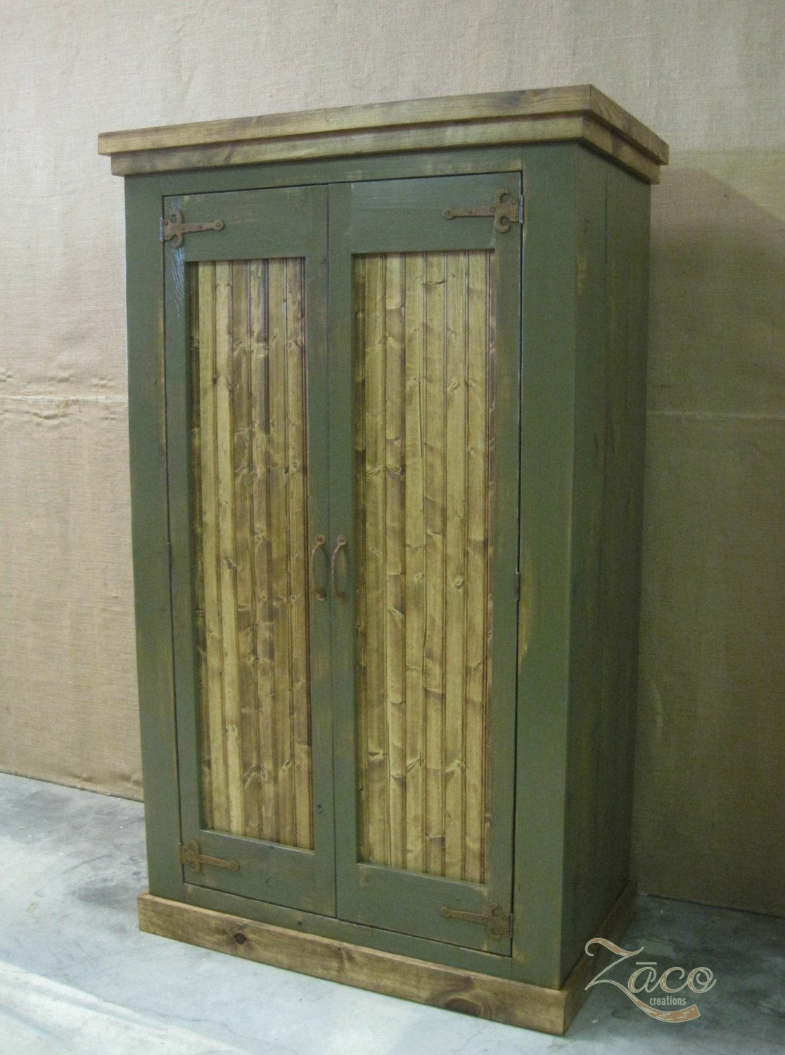 Storage Armoire Wardrobe Coat Closet In Deep Olive Green