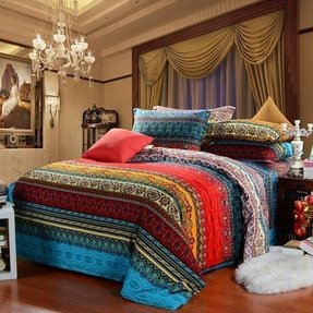 Indian pattern multi color stripe print full queen size bedding