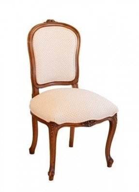 Louis xv shieldback dining chair timber finish fully upholstered with