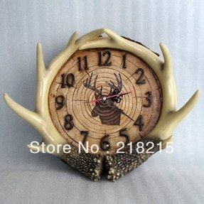 Resin deer antlers decorative wall clock jpg