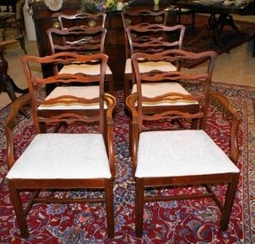 Ribbon back dining room chairs with cross stretcher base 2