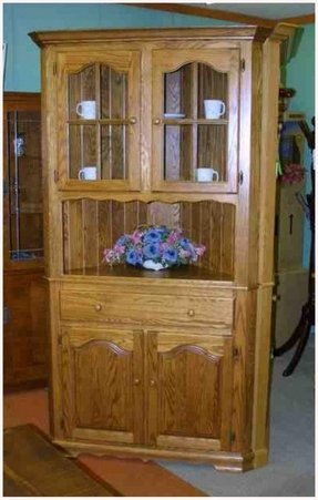 Oak China Cabinet Corner Maple And