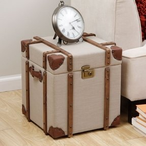 Vintage linen suitcase trunk end table coffee storage box chic