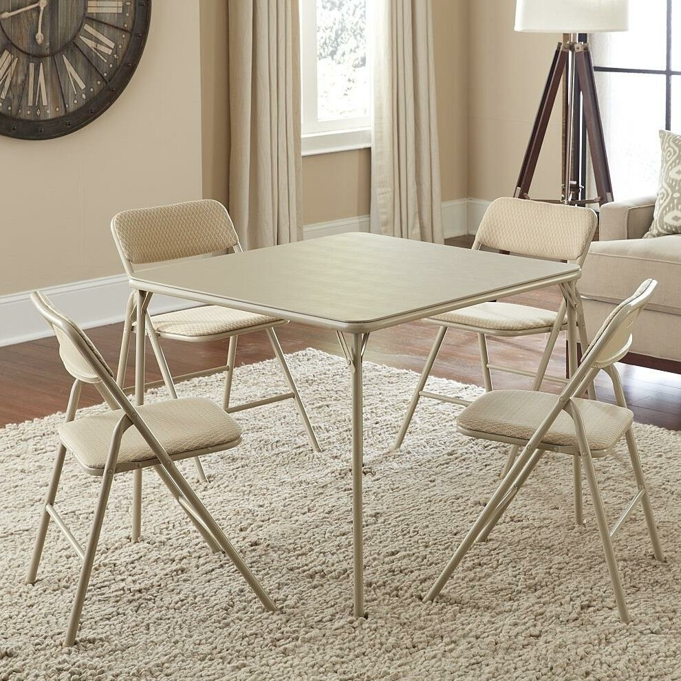 "34"" Square Folding Table Set with 4 Chairs"