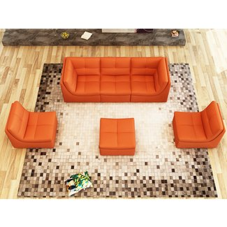 6-Piece Manufactured Wood and Leather Modular Sofa