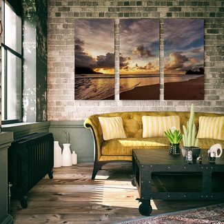 A Premium 'Mountain Lake' Painting Multi-Piece Image on Canvas