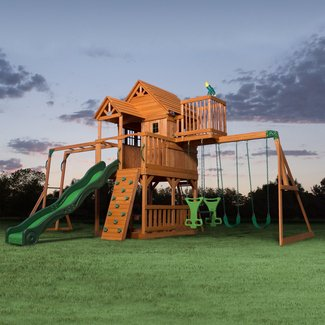 All Cedar Swing Set With Curved Slide