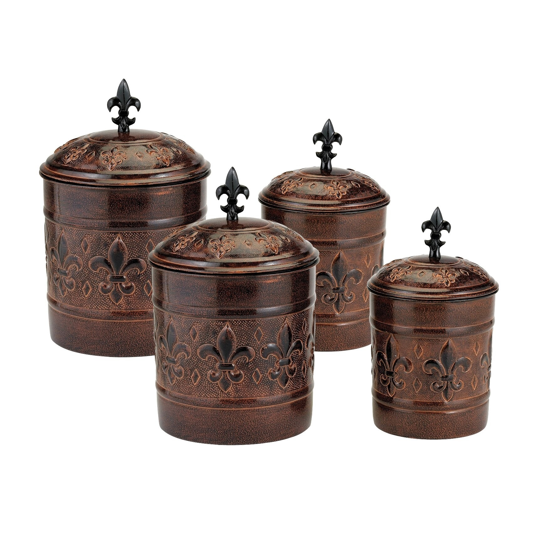 Antique Dutch Set Of Four Kitchen Canisters