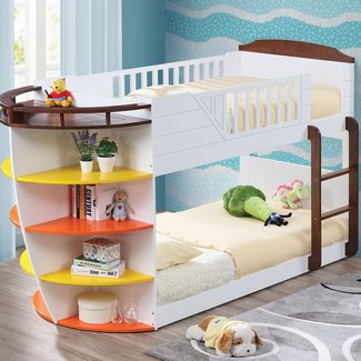 Aquatic Twin Over Twin Bunk Bed With Storage Shelves
