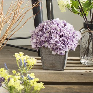 Artificial Hydrangea Floral Arrangement in Planter