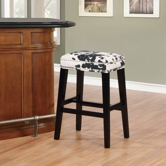 Backless Black Cow Print Bar Stool