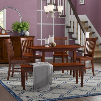Balfor 6 Piece Extendable Solid Wood Breakfast Nook Dining Set