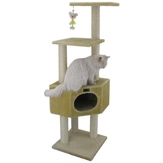 Beige Solid Plywood Cat Tree Condo