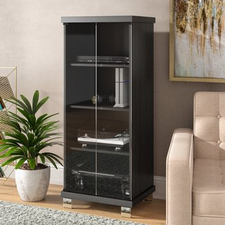 Black 5-Drawer Wood Multimedia Cabinet