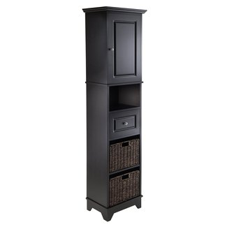 Black Accent Cabinet with Stainless Steel Hardware