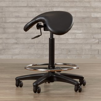 Black Adjustable Backless Stool with Saddle Seat