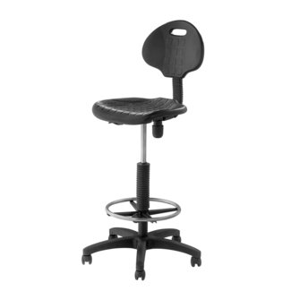Black Adjustable Polyurethane Stool with Backrest