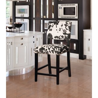 Black and Beige Bar Stool with Silver Nailhead