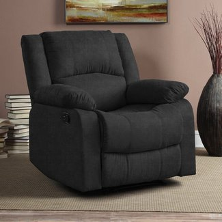 Black Microfiber Manual Recliner