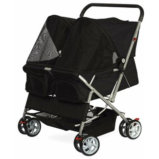 Black Polyester Double Side Foldable Pet Stroller