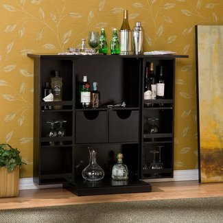 Black Wood Bar Cabinet with Wine Storage