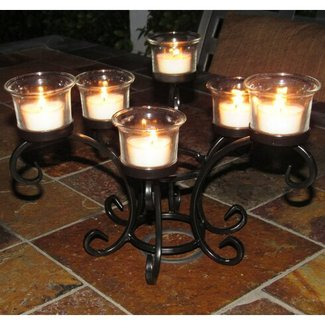 Black Wrought Iron Glass Table Torchiere Candelabra