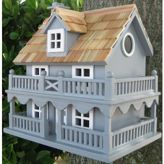 Blue Wall-Mounted Novelty Cottage Birdhouse