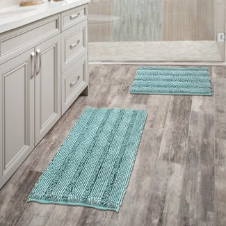 "Breakwater Bay Bath Non Slip Ultra Plush Chenille Striped Floor Mats Bath Turquoise Rugs Set Pack 2-20"" X 32""/17"" X 24"""