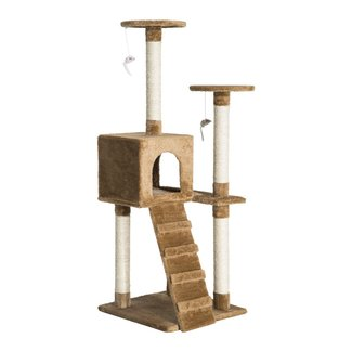 Brown and Beige Wood Cat Tree with Faux Fur