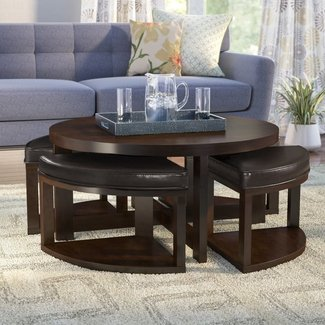 Brown Cherry Coffee Table With Nested Stools