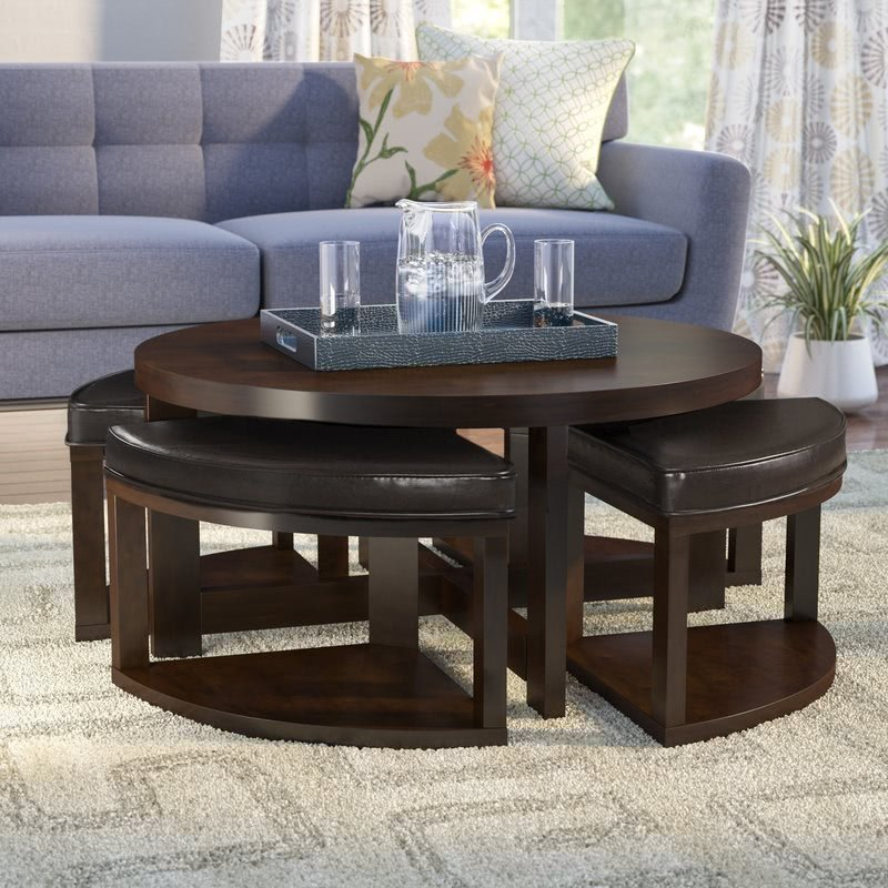 Superieur Brown Cherry Coffee Table With Nested Stools