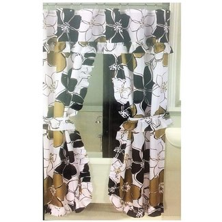 fa64d41bd15 Brown Double Swag Shower Curtain With Floral Patterns