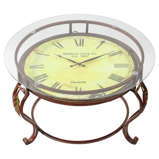 Brown Metal and Glass Coffee Table with Clock