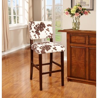 Brown Wood Bar Stool with Ivory/ Brown Fabric
