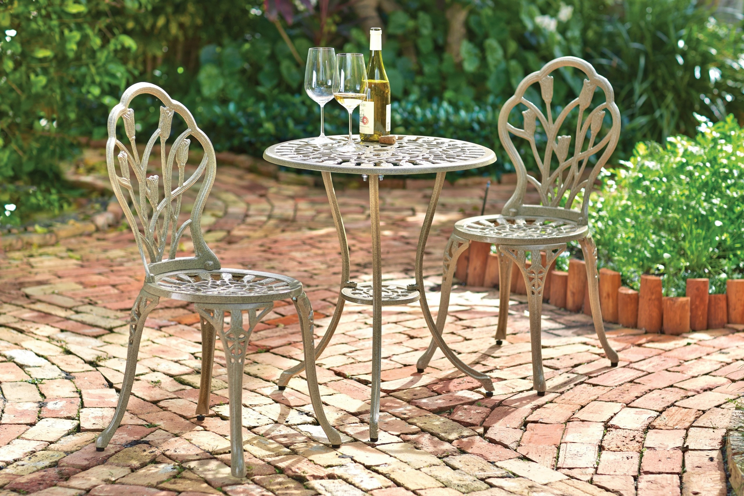 Cast Aluminum And Iron 3 Piece Bistro Set