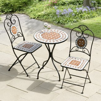 Cast Iron Patio Bistro Set Matte Black Finish