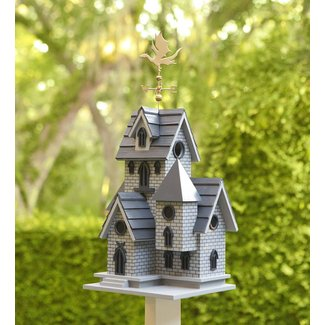 Castle Style Wood Post-Mounted Birdhouse