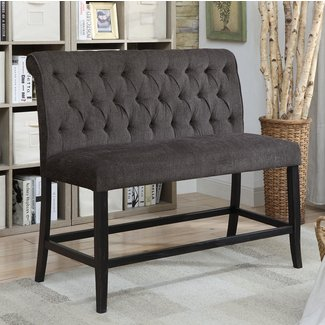 Chenille-Upholstered  Transitional  Counter  Height  Bench