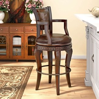 Cherry and Mahogany Wood Swivel Barstool