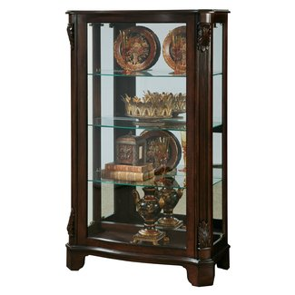Cherry Solid Wood Lighted Curio Cabinet