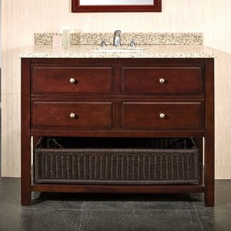 Chocolate Solid Wood Single Bathroom Vanity Set