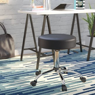 Chrome and Vinyl Adjustable Stool with Dual Wheel