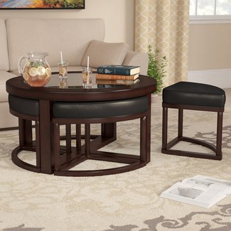 Circular Gl Coffee Table With Nested Stools