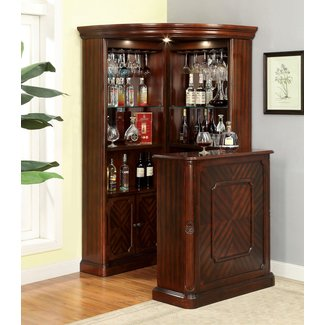 Clical Corner Home Bar With Storage In Dark Cherry