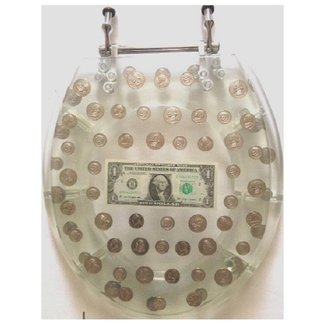 Coins and Bills Acrylic Round Toilet Seat