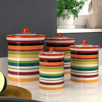 Rainbow Sugar Jar Pot Multi Coloured Kitchen Tablewear Bright Ceramic Gift