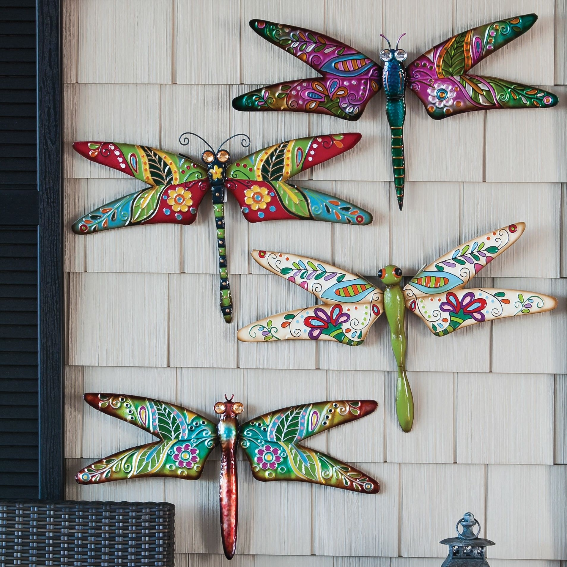Colorful Metal Dragonfly Garden Plaque Set