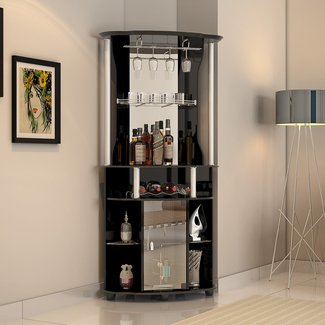 Contemporary Corner Bar With Wine Storage