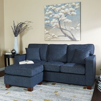 Contemporary Solid Wood Reversible Sectional Sofa