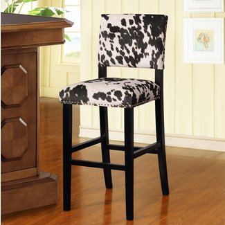 Dark Black And White Wood Traditional Bar Stool
